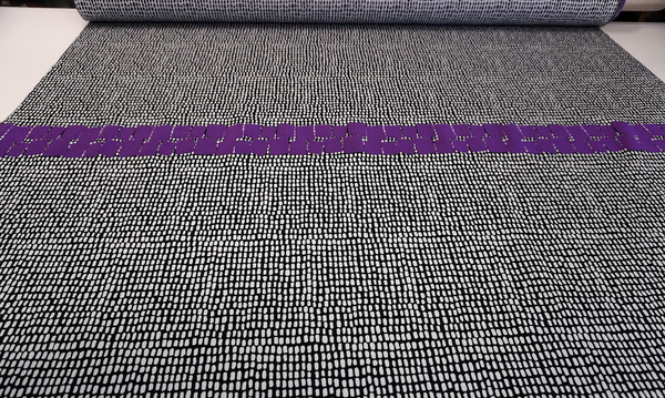 PANEL - Black and White with Purple Pebbles Jacquard