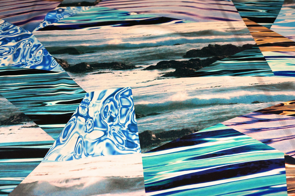 Aqua Collage Print on Silk Satin