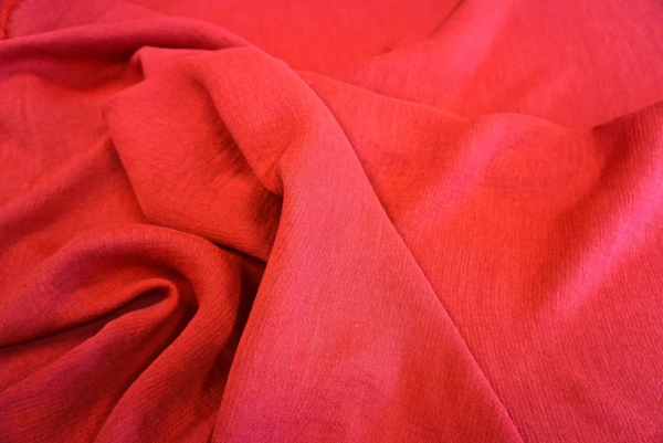 Cotton Blend Double Cloth Crepe, Raspberry Red