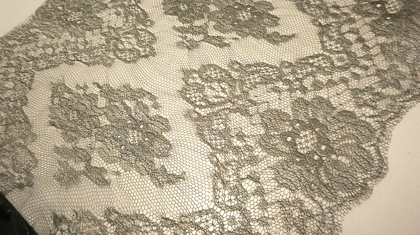 Pewter Metallic French Chantilly Lace Double Scallop Trim