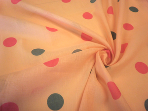 Polka Dot Print on Apricot Linen
