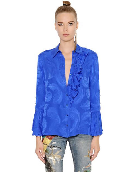 Satin Back Silk, Feather Jacquard in Cobalt Blue