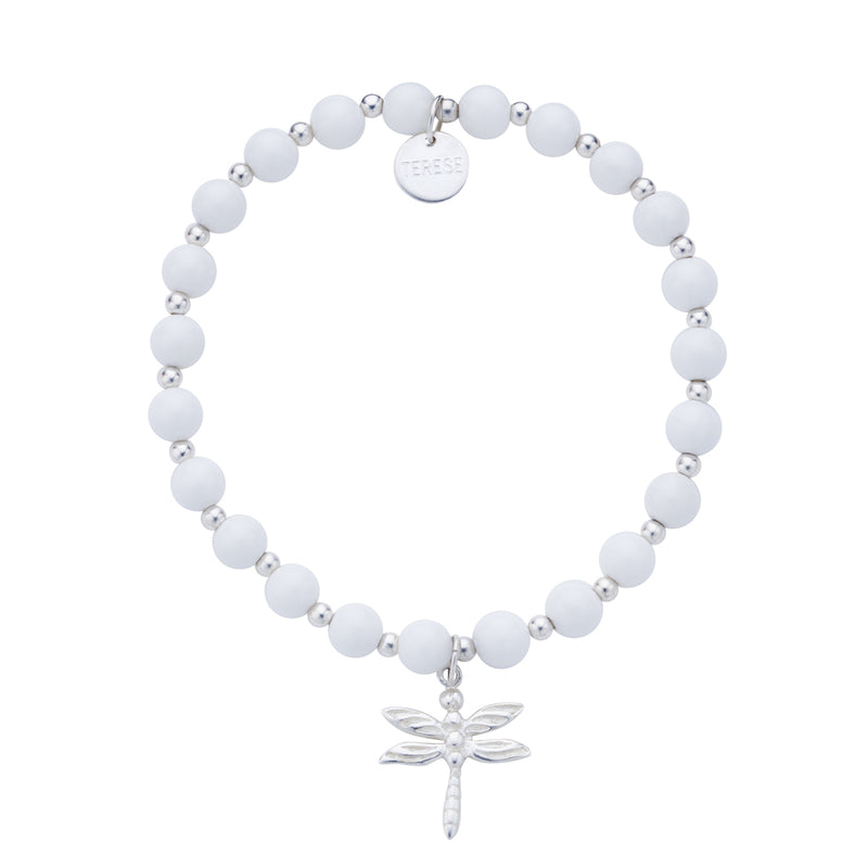 White stone sterling silver and dragonfly bracelet