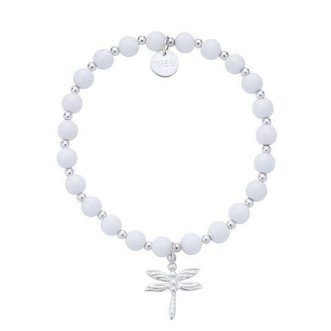 White pearl sterling silver bracelet with silver puffed heart charm