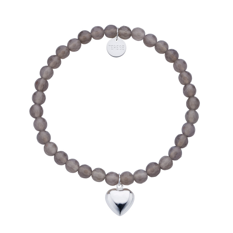 Grey Agate bead bracelet with sterling silver puffed heart