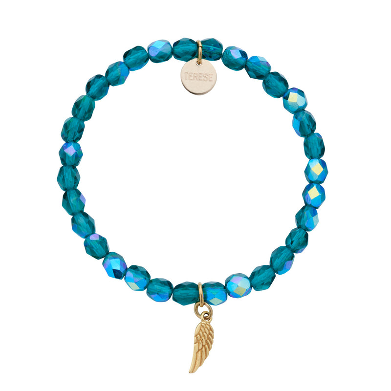 Teal Green Czech bead bracelet with gold angel charm