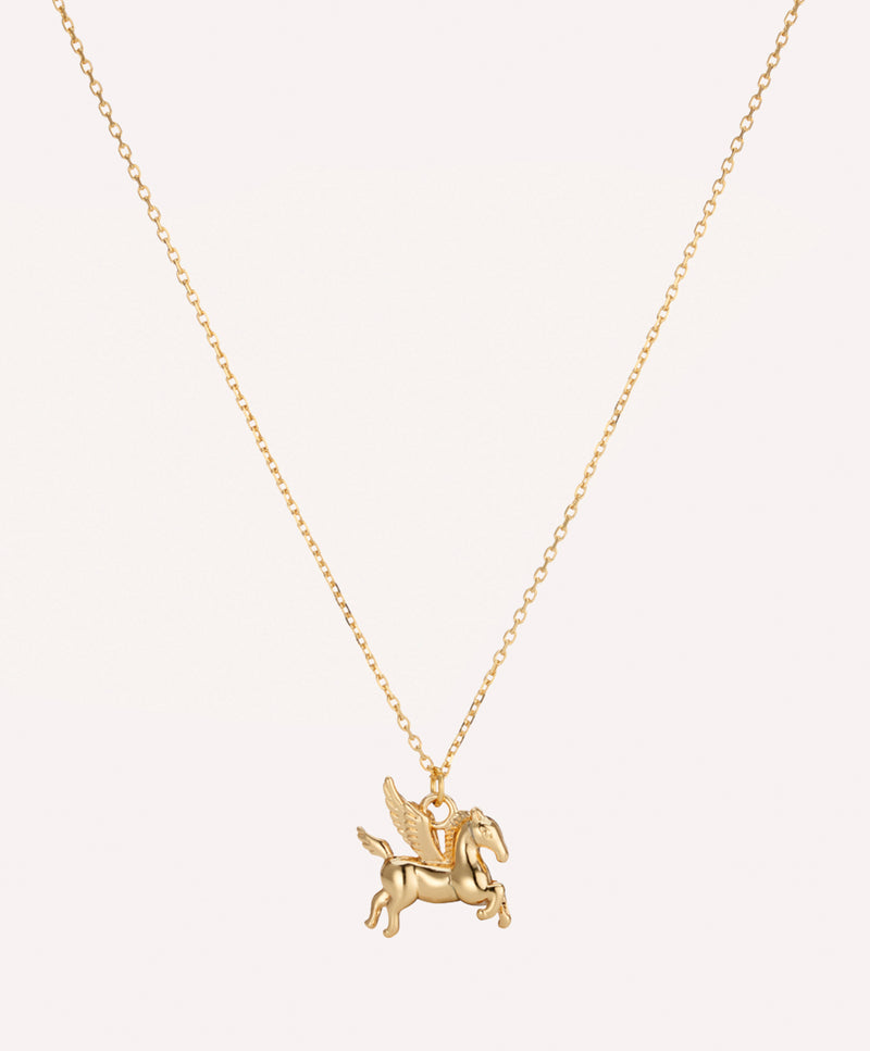 Gold plated pegasus horse charm pendant necklace