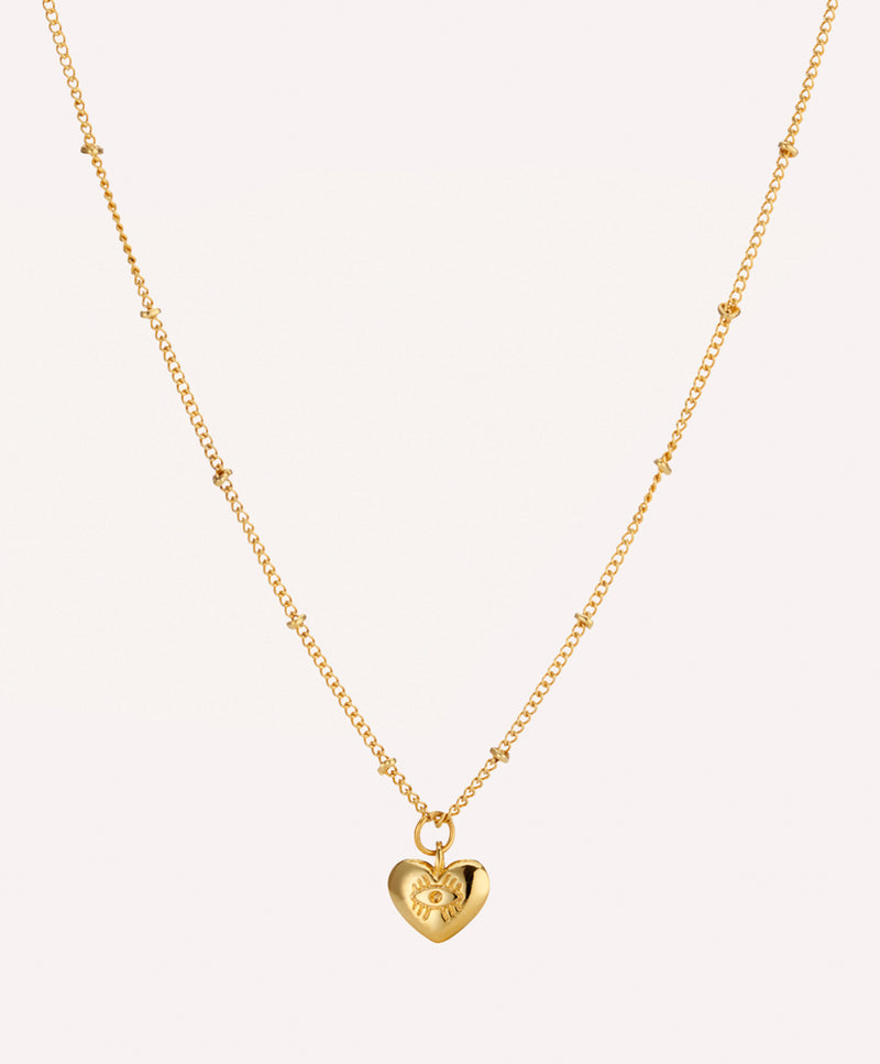 Gold plated evil eye heart charm necklace