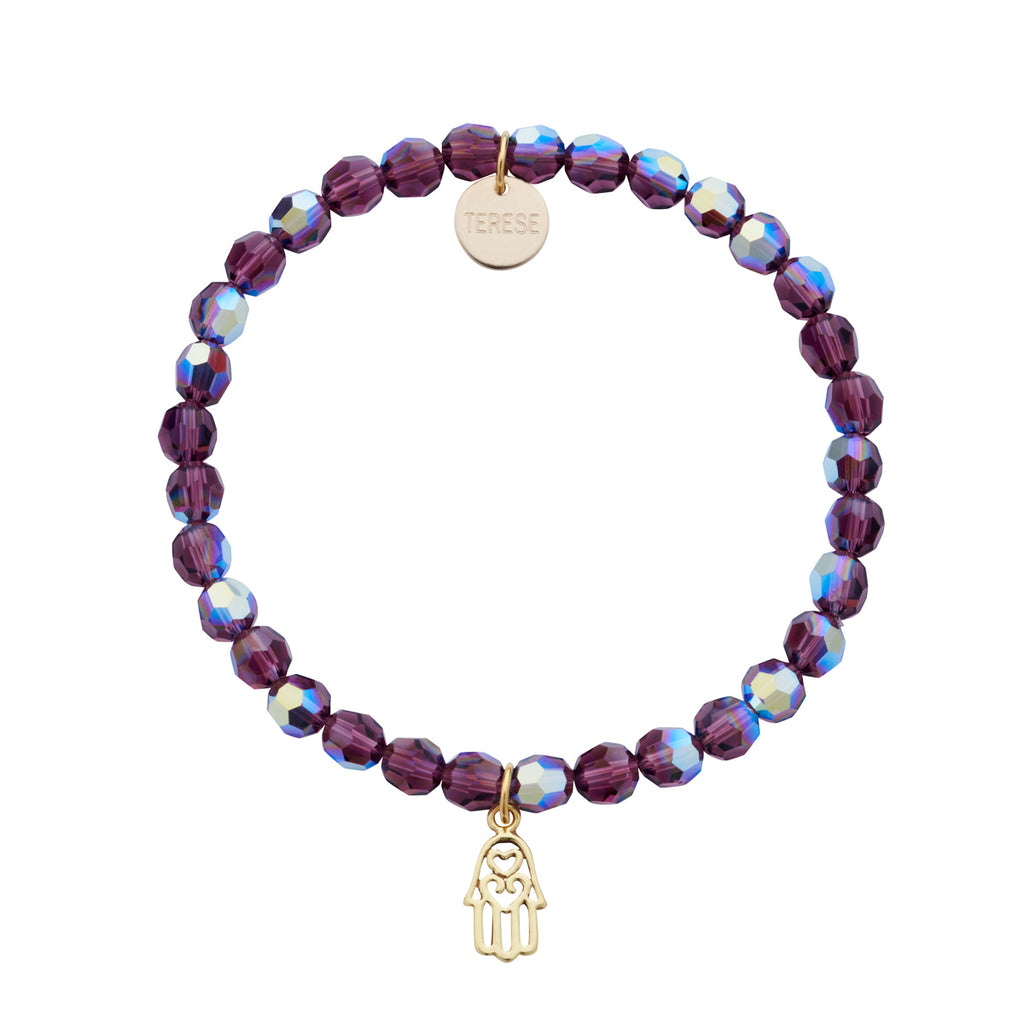 Purple Swarovski beaded bracelet with gold Fatima hand charm