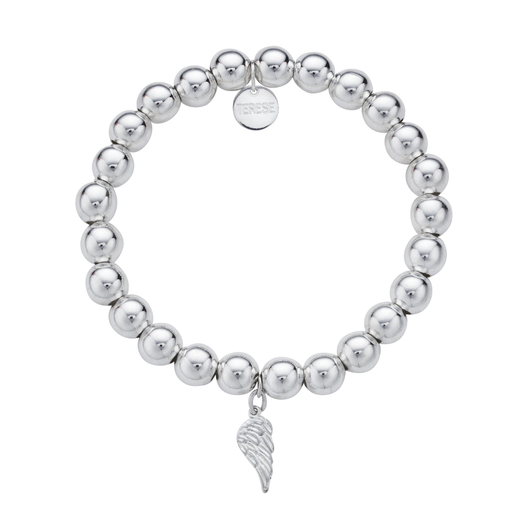 Large sterling silver bead angel charm bracelet