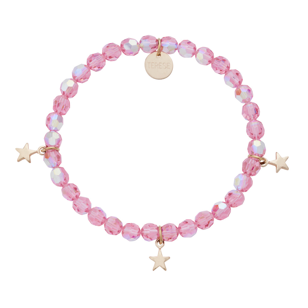 Pink sparkly Swarovski bead bracelet with gold star charms