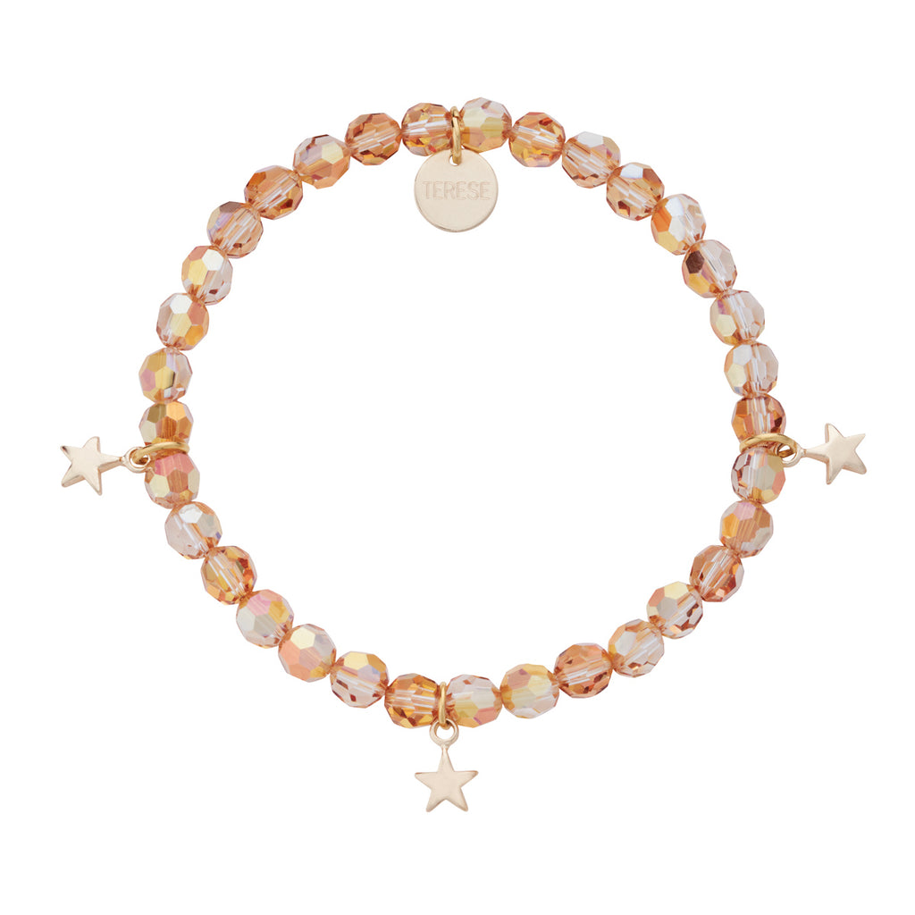 Gold brown Swarovski bead bracelet with 3 star charms