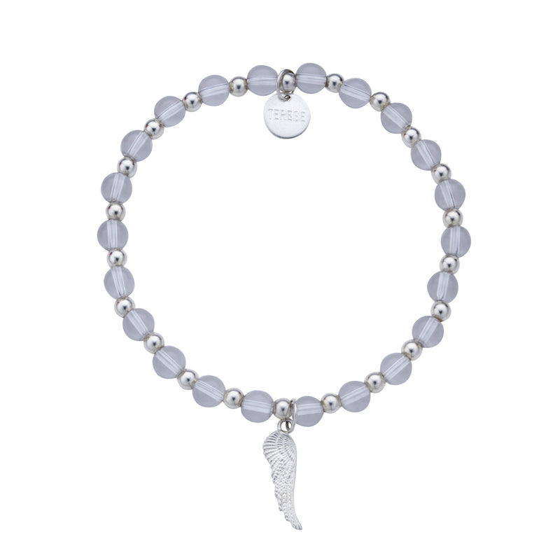 Rock crystal bead and angel wing charm bracelet