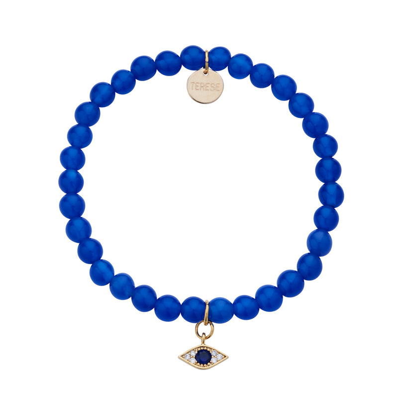 Evil eye protective blue beaded bracelet with gold plated evil eye charm