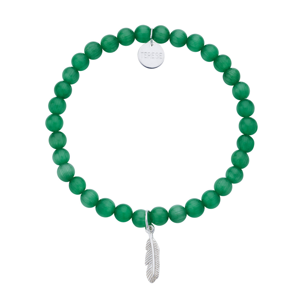 Green Cat's Eye Bead Bracelet with Sterling Silver Feather Charm