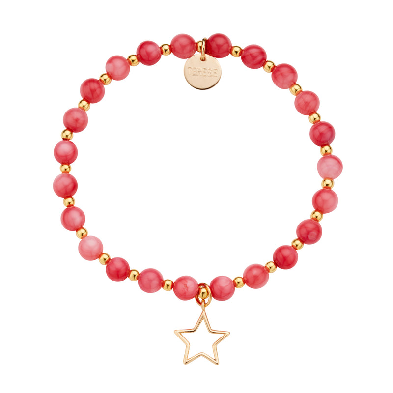 Bright orange coral stone bead and gold vermeil star charm bracelet