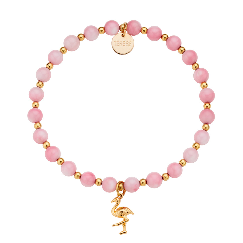 Mother of pearl pink stone bead and gold flamingo charm bracelet