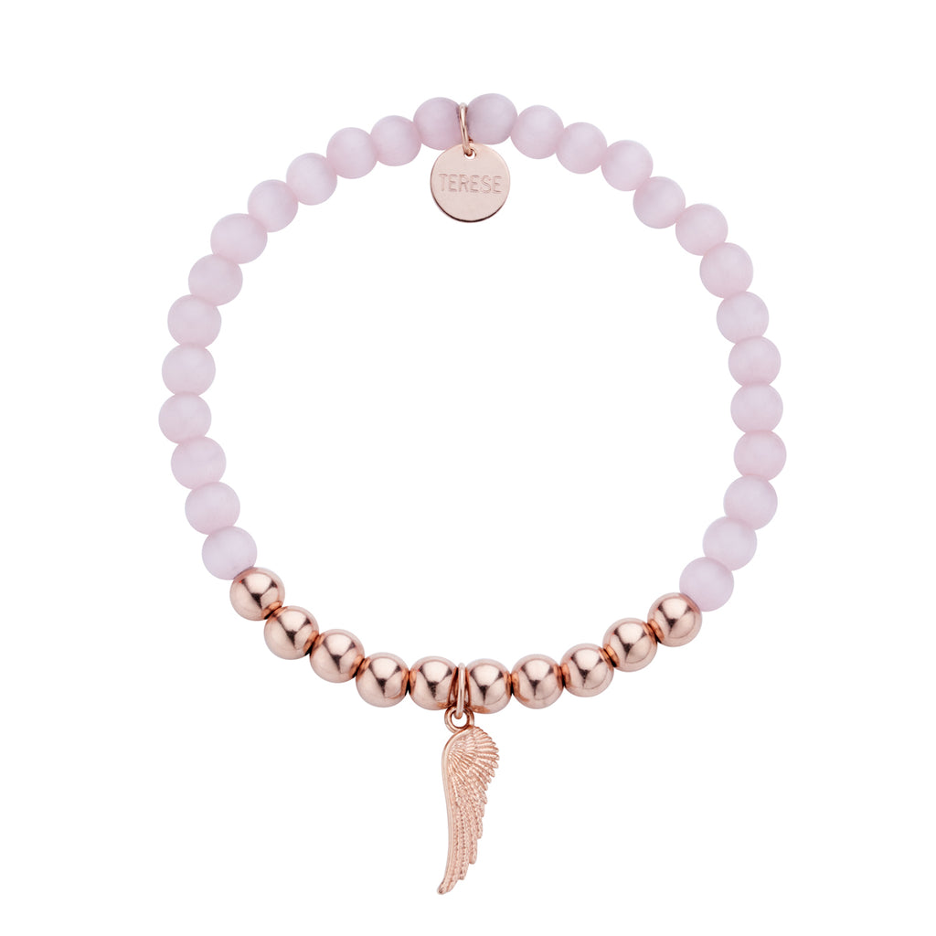 Rose gold vermeil pink bead bracelet with angel charm