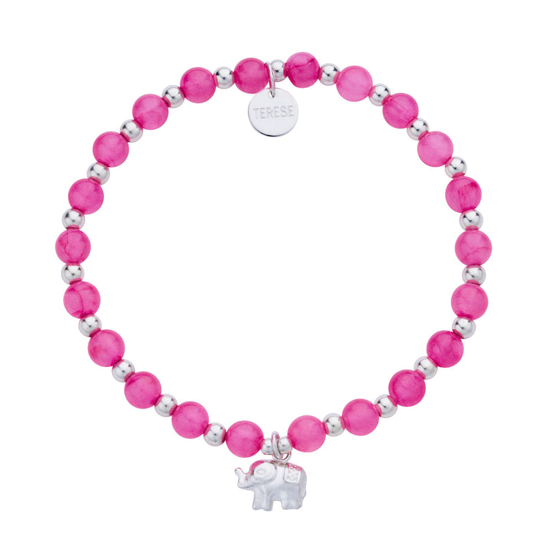 Sterling silver and pink bead elephant charm bracelet