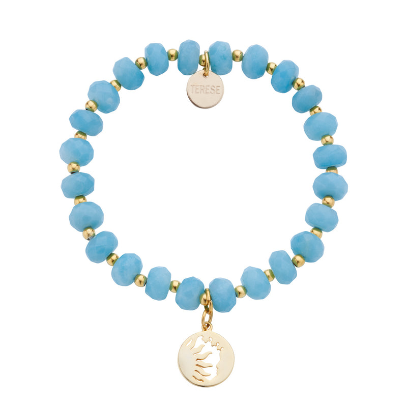 Light blue bead sun and moon charm celestial bracelet