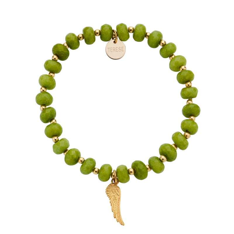 Green Jade Bead Stackable Angel Wing Charm Bracelet