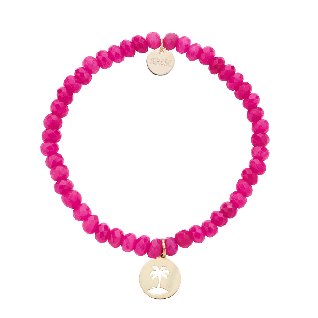 Fuchsia beaded bracelet with gold vermeil palm tree charm