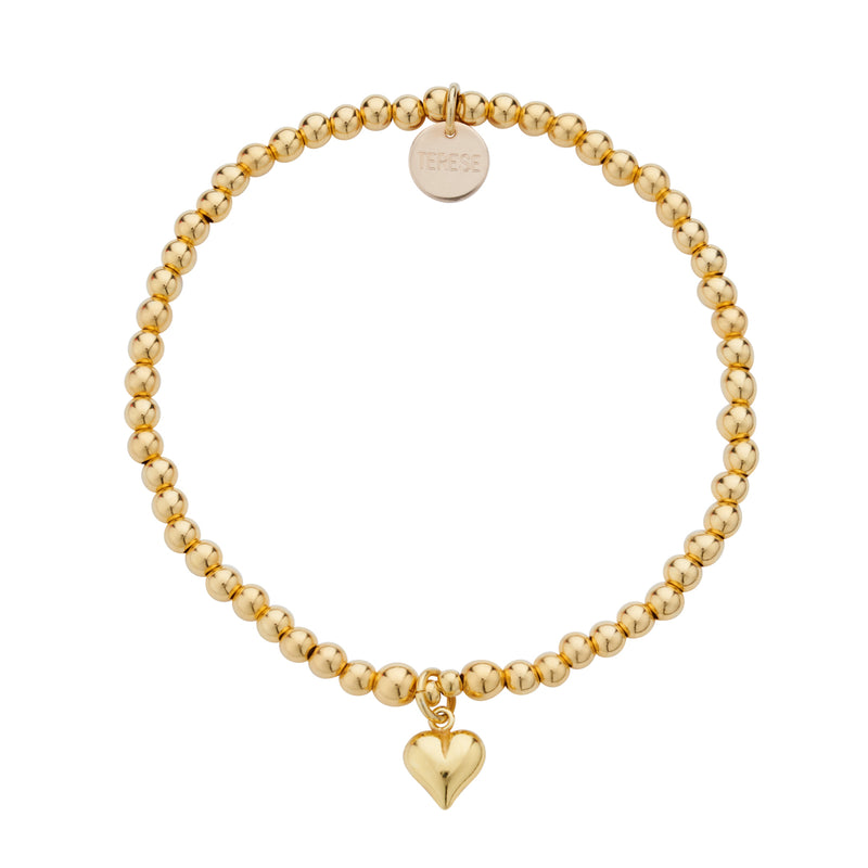Gold vermeil beaded bracelet with love heart charm