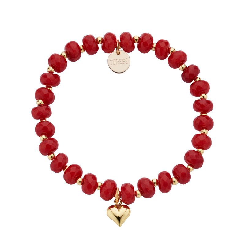 Red jade stone bead bracelet with gold vermeil puffed heart