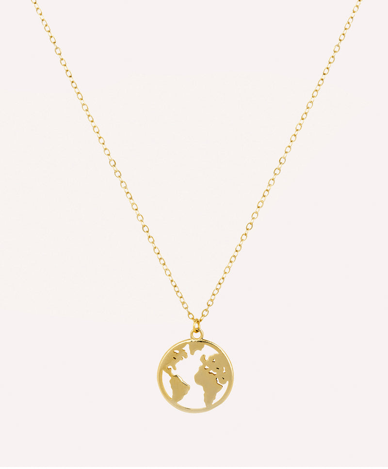 Globe pendant gold necklace