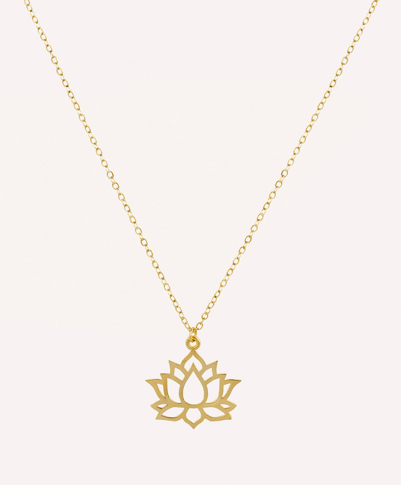 Lotus yoga charm gold necklace