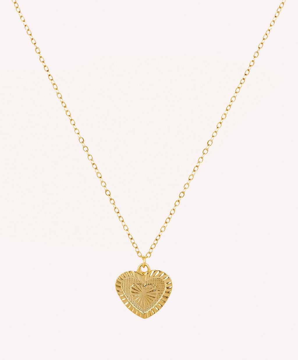 Gold pleated heart necklace