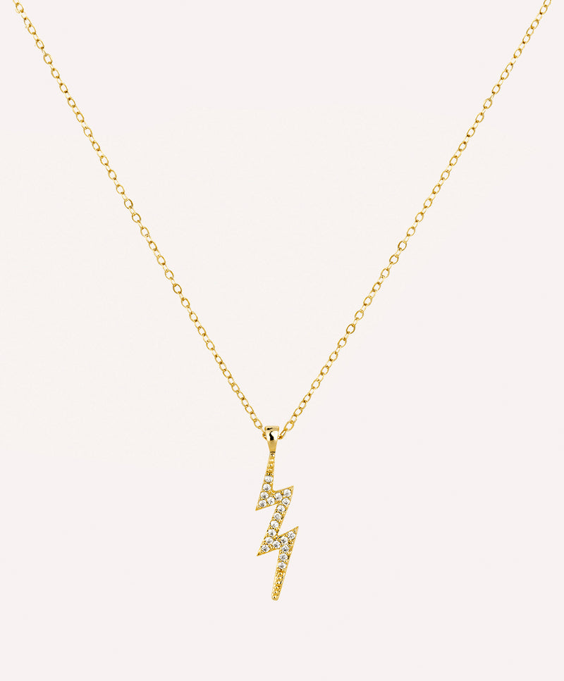 Lightning bolt charm gold necklace