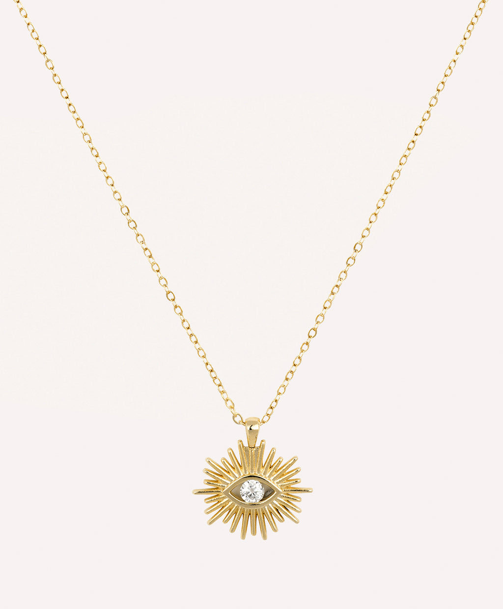 Evil eye crystal gold necklace