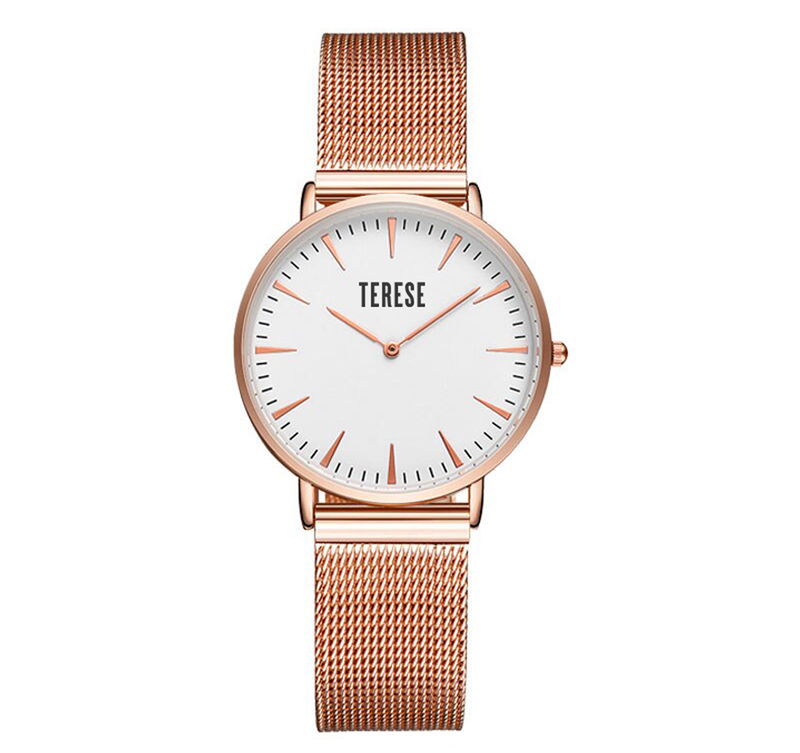Women's rose gold stainless steel watch