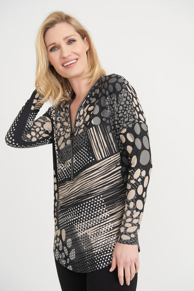 Joseph Ribkoff | Mixed Print Zip Neck Tunic - NEW ARRIVAL