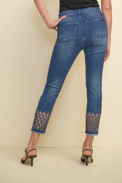 Joseph Ribkoff | Jeans with Lattice Cut-Outs - NEW ARRIVAL