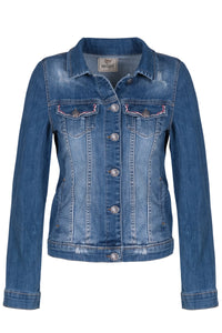 Denim Jacket with Painted Flower - NEW ARRIVAL