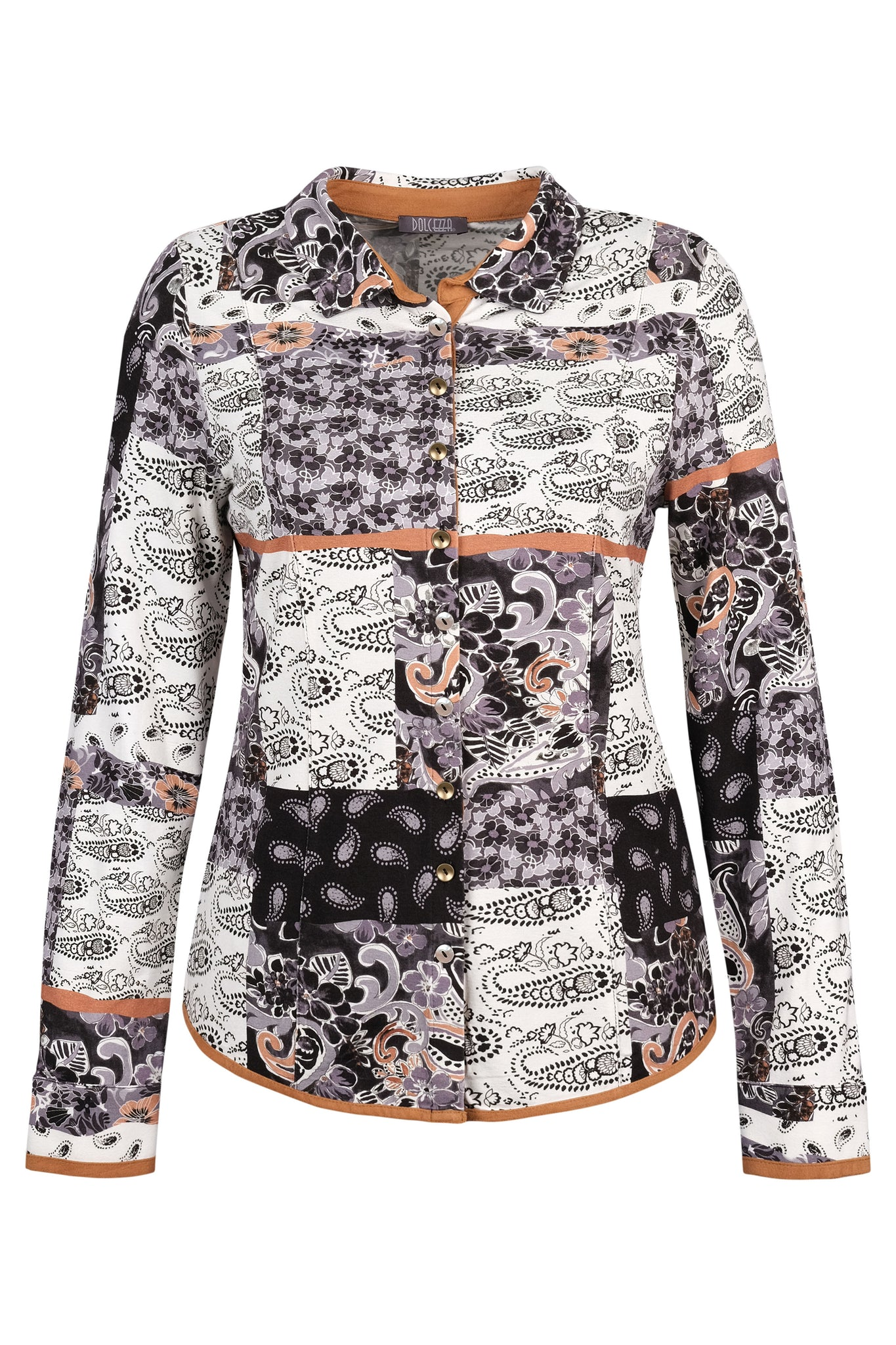Dolcezza } Graphic Patchwork Blouse **50% OFF original price applied at checkout**