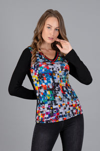 Dolcezza | Colourful Squares Top with Black Sleeves **50% OFF original price applied at checkout**