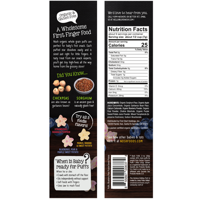 Whole Grain Puffs, Blueberry, Pear and Purple Sweet Potato (Pack of 6)