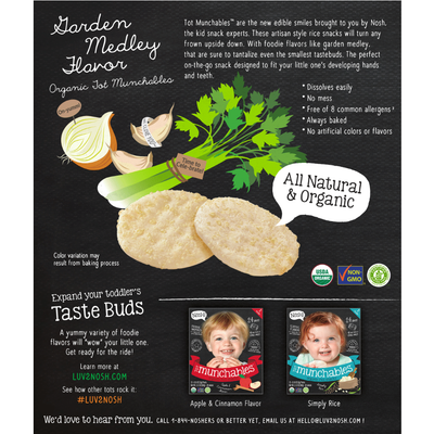 Tot Munchables Rice Snacks, Garden Medley