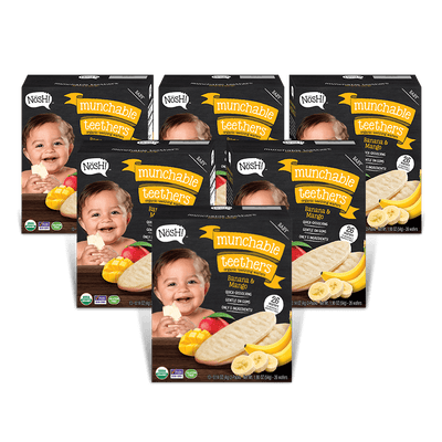 Baby Munchable Teethers Organic Teething Wafers, Banana & Mango (Pack of 6)