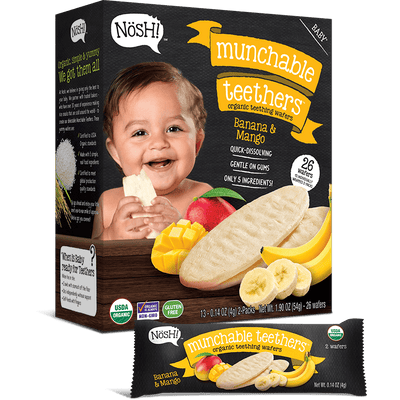 Baby Munchable Teethers Organic Teething Wafers, Banana & Mango