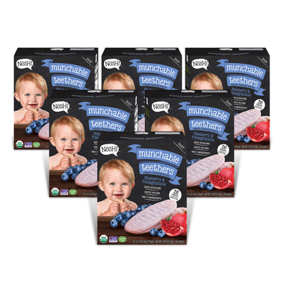 Baby Munchable Teethers Organic Teething Wafers, Blueberry & Pomegranate (6 Pack)
