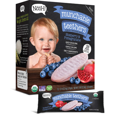 Baby Munchable Teethers Organic Teething Wafers, Blueberry & Pomegranate