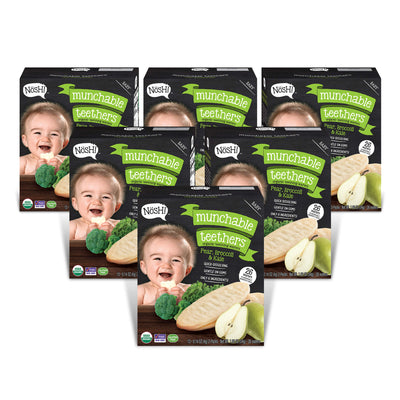 Baby Munchable Teethers Organnic Teething Wafers, Pear, Broccoli & Kale (Pack of 6)