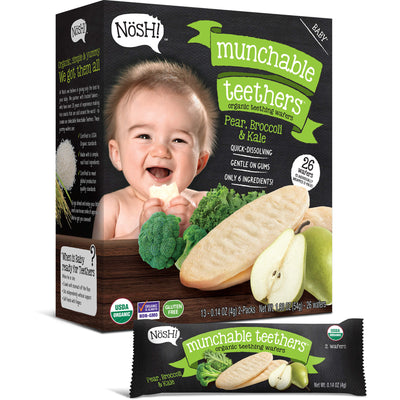 Baby Munchable Teethers Organic Teething Wafers, Pear, Broccoli & Kale