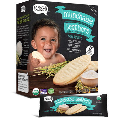 Baby Munchable Teethers Organic Teething Wafers, Simply Rice