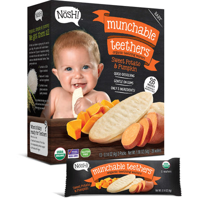 Baby Munchable Teethers Organic Teething Wafers, Sweet Potato & Pumpkin