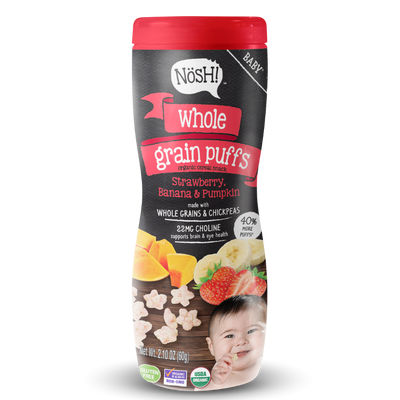 Whole Grain Puffs, Strawberry, Banana & Pumpkin (Pack of 6)